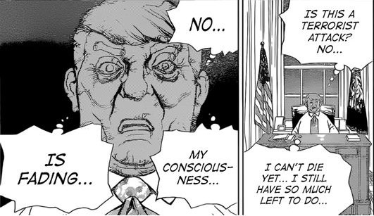 Donald Trump turning to stone in the manga Dr. Stone
